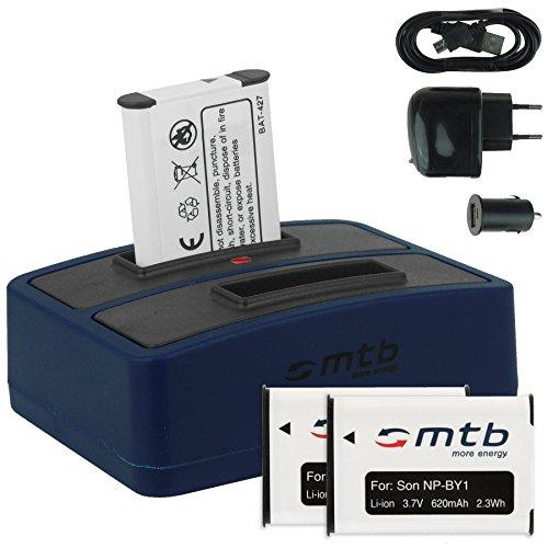 3x Akku + Dual-Ladegerät (Netz+Kfz+USB) für NP-BY1 NPBY1 // Sony HD Action Cam Mini AZ1 mit Wi-Fi / HDR-AZ1 (KIT), HDR-AZ1VR