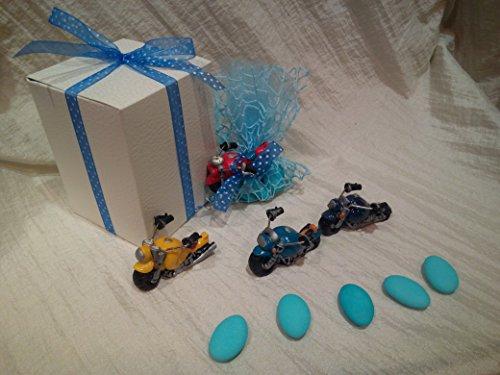 Langolo bomboniere nascita battesimo comunione moto completa di confetti sacchetto e bigliettino