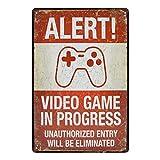 Doitsa 1x Plaque Metallique Vintage - Alert Video Game in Progress - Affiche Art Plaque Murale en Métal Décoration Internet Salle de Jeux 20x30cm