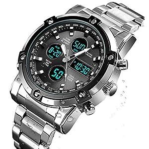BHGWR Herren Analog Digital Quarz Uhr mit Silber Edelstahl Armband, Herren Militär Sportuhr mit Wecker/Countdown/Stoppuhr, großes Gesicht wasserdicht Digitaluhr Armbanduhr für Männer