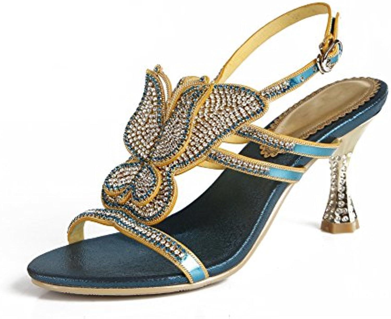 ZPL Donna Le signore Festa Diamante Sera Nozze nuziale Ballo Ballo Ballo di fine anno cinghietti medio Tacco sandali, blu... | Materiale preferito  | Sig/Sig Ra Scarpa  3638f2