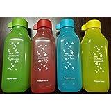 Tupperware New Square Printed Water Bottle Set 500ml SO4