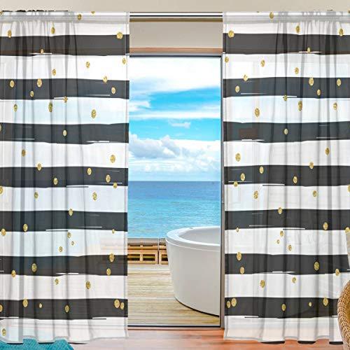 ALARGE Gardine für Fenster, mit goldfarbenen Punkten, Voile-Vorhang, Dekoration, Küche, Wohnzimmer, Schlafzimmer, Tür, Fenster, 2 Paneele, Multi, 55