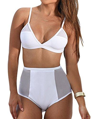 Frauen Bademode Damen Garn Badeanzug Hoch tailliert Bikini-Sets mit Brustpolster Weißes Als Bild