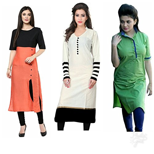 Independence Day Special Set Of 3 Long Cotton Semi Stiched Kurtis (1028combo)(kurti for women low price partywear cotton kurtis)