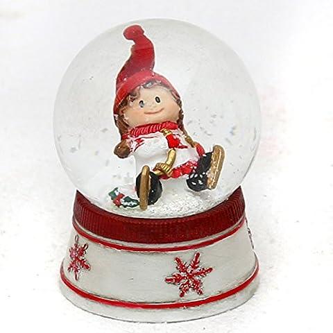 Bella e originale palla di vetro con neve. Disegno: Bambina con pattini da ghiaccio, circa 6,5 x 5 cm/ Ø 4,5 cm