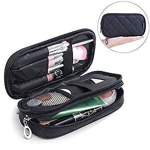 Mlmsy Estuche para maquillaje, profesional, incluye espejo, para mujer, organizador de viaje con 2 compartimentos, para guardar cosméticos, brochas, etc., multiusos, color negro