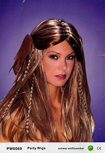 Qubeat Perruque Femmes longue Brun/Blond Avec des nattes Carnaval Carnaval Halloween Moyen Âge parure pour cheveaux
