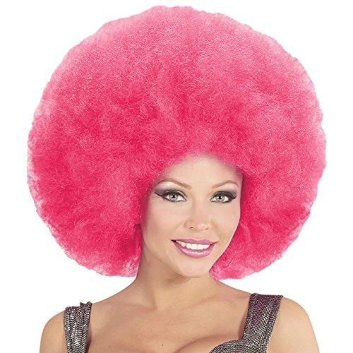 Widmann 04675 Afro Perücke, pink, One Size (Blumenkind Kostüm Zubehör)