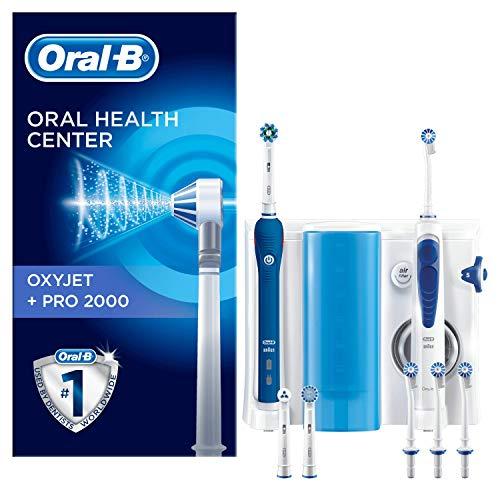 Oral-B Mundpflege-Center, Pro2000Elektrische Zahnbürste +OxyJet Munddusche, für eine sanfte Reinigung am Zahnfleischrand, 4 OxyJet Aufsteckdüsen