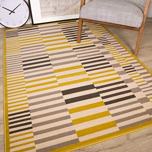 The Rug House Tradicional Alfombra Milán para Sala de Estar con diseños geométricos Modernos en Colores...