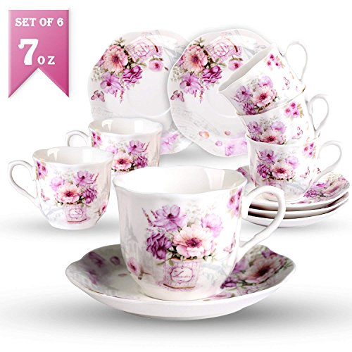 7oz Kaffeetassen mit Untertassen Porzellan Set-220ml Neue Bone China mit Retro Modern Blumen Muster...