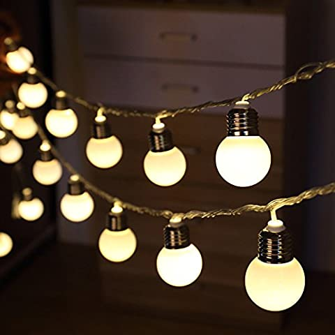 KEEDA Festoon Clear Bulb Lights, Battery Operated, 20 Bright LED, Plastic Frosted Globe Fairy String Lights Bulb, Outdoor Garden light, Indoor Outdoor Christmas Party Decorative Lights/ Lighting, 220V, Plug-in (Warm White)