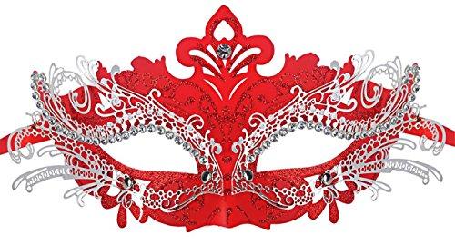 Coxeer Damen Maskerade Maske Schmetterling Form Laser Schneiden Metall Karneval Maske (Red)
