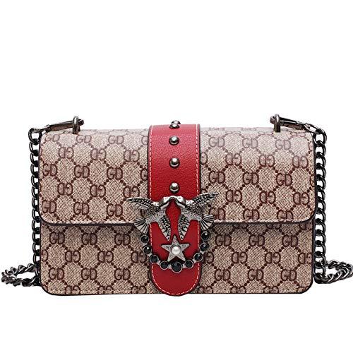LFGCL Taschen womenOld Blumentasche Kette Schulter Umhängetasche Buchstabe GD Frauentasche, rot (Michael Kors Wallet Sale)