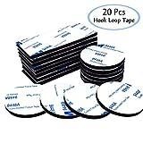 Doppio gancio loop tape Pads, 20 pz auto-adesivi resistente nastro rimovibile cuscinetti adesivi nastro con gancio di chiusura a per auto casa e tappeti, nero rettangolo + rotonda