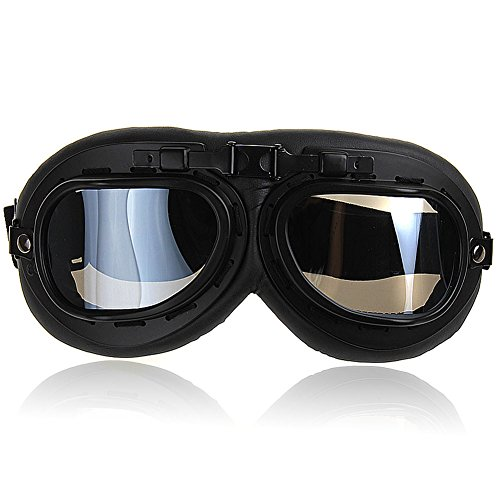Nsstar - Occhiali da pilota della RAF per moto, scooter, motocross, protezione solare anti UV e anti vento, telaio cromato, Black, Misura unica