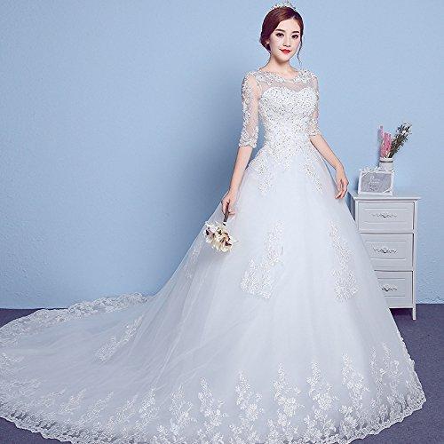 SHA Hochzeitskleid Ärmel Rundhals Nach Koreanischen Einfachen Plus Größe Spitze...
