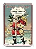 Cavallini - Brillantini Greetings postale Carte - VINTAGE BABBO NATALE - TIN OF 12 CARTOLINE - 6 Designs/2 PER TIPO