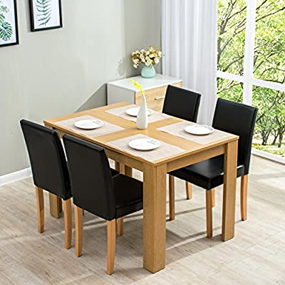 Cherry Tree Furniture 5-Piece Dining Room Set 4-Seater Dining Table with 4 Chairs, Oak Colour Table with Black PU Leather Seats - inexpensive UK light store.