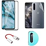 LINLO [4 in 1] for OnePlus Nord OG Super Gorilla Tempered Glass [Bubble Free] with Clear Fiber Back Skin Rear Screen Guard with Type-C to 3.5mm Audio Convertor with Camera Protector Tempered Glass