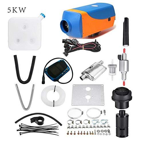 Riscaldatore Camper, Riscaldatore 24v Diesel 5kW, 12V Diesel Heater, Riscaldatore Diesel kit con Telecomando LCD per Auto Camion Yachts Barche Camper blu e arancione