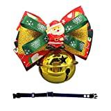 Yunt Collar de Navidad para perro, con campanas, diseño de Papá Noel, con lazo, para mascotas, adorno para perros pequeños, medianos, grandes y gatos