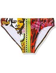 Miws Africa - Bañador de natación para hombre, color marron/rojo/verde/negro, talla S