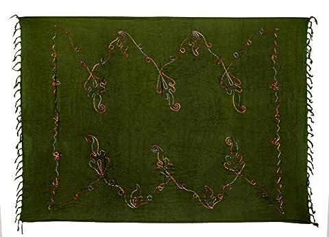 Kascha Trading - Paréo - Femme Vert Bunte Stickerei Khaki Olive