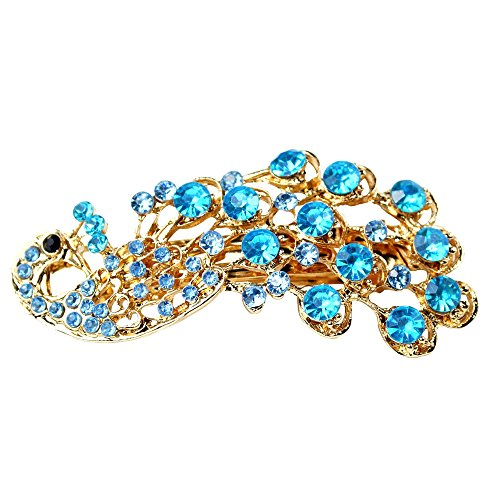 Strass vintage Peacock Design capelli clip Forcine capelli Pin Lady donne capelli gioielli accessorio Blue