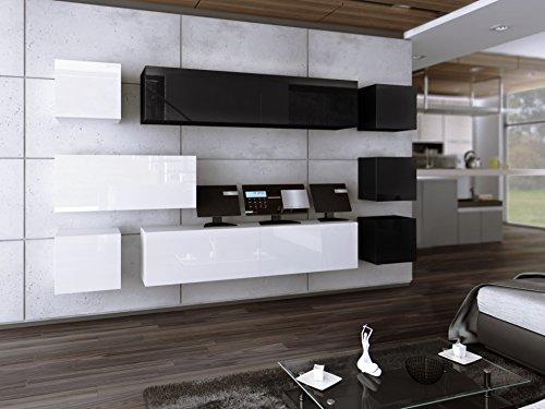 HomeDirectLTD Wohnwand Future 18 Anbauwand Moderne Wohnwand Hochglanz Weiß Schwarz/Matt Weiß Schwarz Exklusive Mediamöbel (Hochglanz Schwarz Weiß)