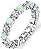 Damen Sterling Silber Ring Hochzeitsband Verlobungsringe Trauringe Ewigkeitsring mit Weiß opal und zirkonia 3.5mm Größe 54