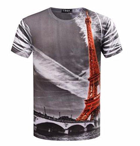 Men's 3D Printed O Neck Short Sleeve Tee Shirt chart color 1