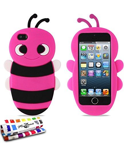 Bumper APPLE IPHONE 5S / IPHONE SE [Le Bumper Colors Premium] [Rosa] von Muzzano + UltraClear Pack 3Display Schutzfolie Transparent mit Stylus/Reinigungstuch für - Das ULTIMATIVE, ELEGANTE UND LANGLE Bonbonrosa