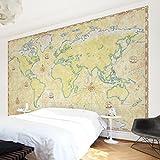 Apalis Vliestapete World Map Fototapete Breit | Vlies Tapete Wandtapete Wandbild Foto 3D Fototapete für Schlafzimmer Wohnzimmer Küche | beige, 94870