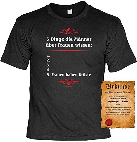 T-Shirt Herren Männer schwarz Größen S- 5XL Funshirt mit coolem Spruch 5 Dinge die Männer über Frauen wissen lustig Schwarz