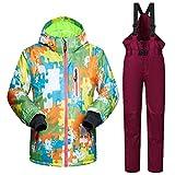 ZXGJHXF Nuovi Bambini di Alta qualità Tuta da Sci Bambini Antivento Impermeabile colorato Ragazze per Ragazzo Snowboard Giacca da Neve e Pantaloni Abito Invernale,B Vino Rosso,XL