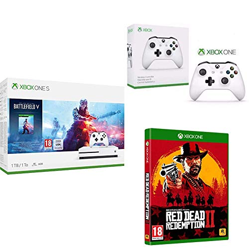 Microsoft Xbox One S - Consola 1 TB + Battlefield V + Red Dead Redemption 2 (Xbox One) + Microsoft Xbox Wireless Controller Blanco Gamepad PC, Xbox One S - Volante/mando