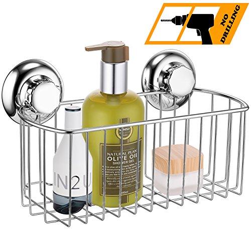 MaxHold Saugschraube Duschkorb tief rechteckig einstöckig, Befestigen ohne Bohren - Edelstahl rostfrei - Küchen & Badezimmer Aufbewahrung - Stehen Wand Teller