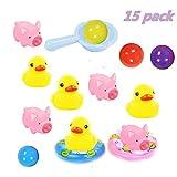 15 Stücke Badespielzeug, Rosa Schwein / Ente / Mini Schwimmring Für Mädchen Baby Badewannenspielzeug Jungen Spielzeug Kinder Für Badewanne (A)