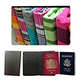 Porta Passaporto di Qualità in PU Pelle Linea Sottile con Organiser per Viaggio // M00156017 Draps de linge de lit coloré Plié // Universal passport leather cover