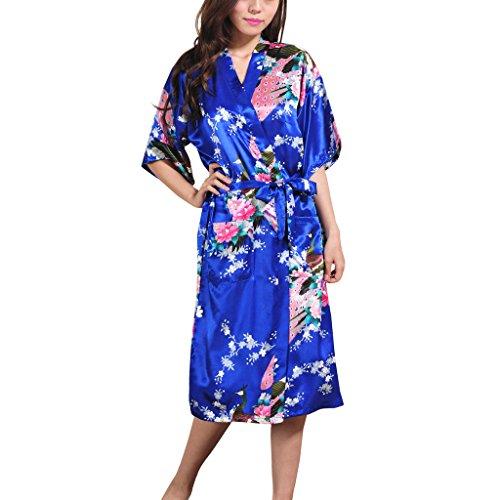 Waymoda Women's Luxury Silky Satin Nightwear Dressing Gown, Peacock and Blossoms Pattern Kimono Pajamas, 10+ Color, 5 Sizes Optional - Long style Sapphire