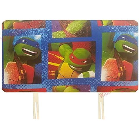 K Co Headboards - Testiera per letto singolo, motivo con personaggi della Disney o emblema delle squadre di calcio, ideale per dare un tocco di vivacità alla cameretta dei bambini, Legno, TEENAGE NINJA MUTANT TURTLE, letto singolo