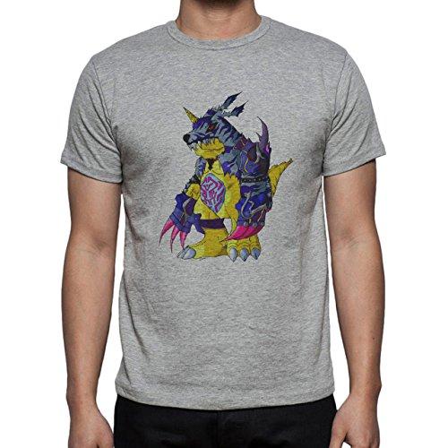Digimon Garurumon Wolf Gabumon Angry Herren T-Shirt Grau