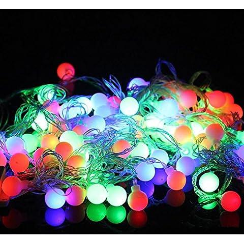 Colores de Navidad cadena bombilla luz de hadas 33pies 10metros 100LEDs mini cadena RGB con controlador 220V parte de vacaciones boda decorar string,todos los