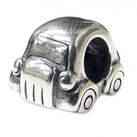 Queenberry cadeau de Noël Mini voiture coccinelle en argent Sterling 925 pour Bracelets de type Pandora, Troll, Biagi Chamilia Charm Bracelets