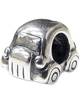 Queenberry, Motiv Beetle Auto Mini, Sterling-Silber 925 Perlen-Anhänger für Pandora/Troll/Biagi/Chamilia Charm-Armbänder