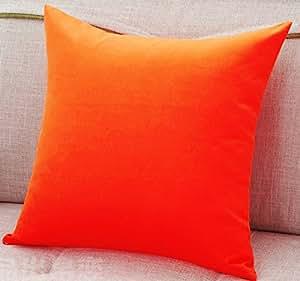 AURAVE Excel Cotton 1 Piece Decorative Plain Cushion Cover - 24 X 24 inches, Orange