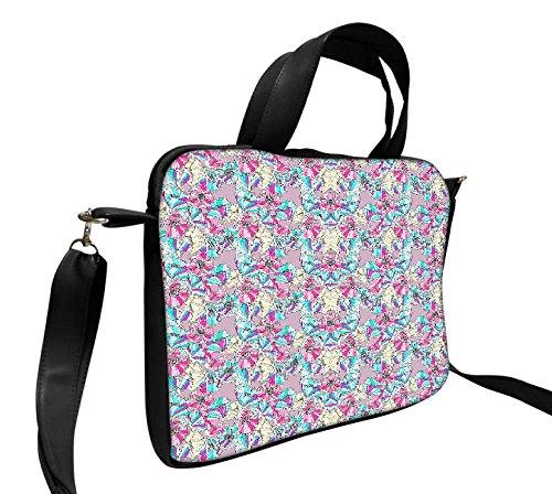 Snoogg Blume, Muster 43,2cm Zoll auf 44,5cm Zoll zu 44,7cm Zoll Kunstleder Laptop Notebook Schuber Sleeve, der Fall mit und Schultergurt für MacBook Pro Acer Asus Dell HP Sony Toshiba