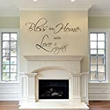 Motivation Warm Vinyl Wall Quote Christian Home Blessing Words Sticker Art For Family Living Room Bless This Home With Love and Laughter(X-Large,Custom)